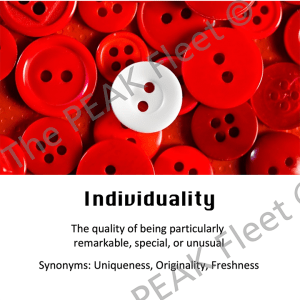 Individuality: The quality of being particularly remarkable, special, or unusual.