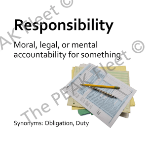 Responsibility: Moral, legal, or mental accountability for something.
