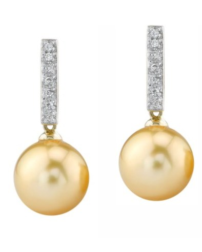 Golden Pearl Dangling Diamond Earrings