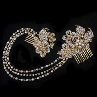 Gold, Crystal & Pearl Chain Hair Comb