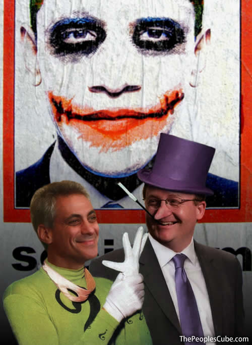 The Riddler yucks it up with the Penguin about Death Panel proctology