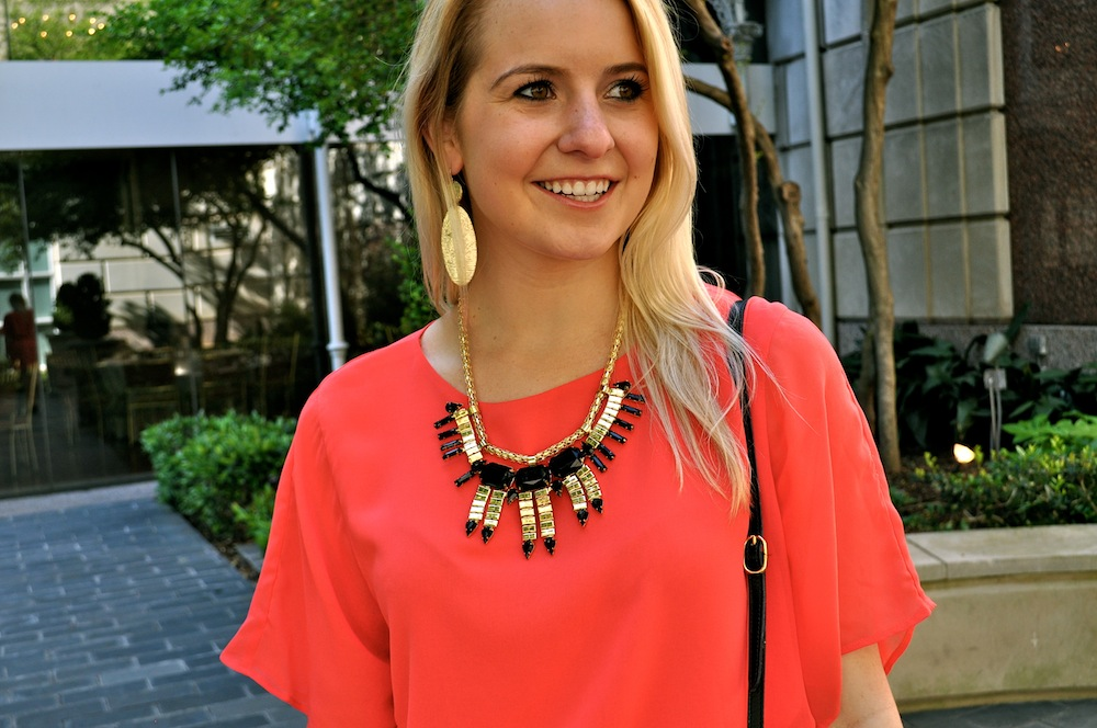 red dress statement necklace