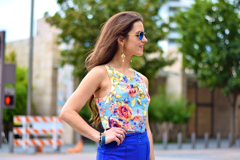 floral crop top with high waist pants