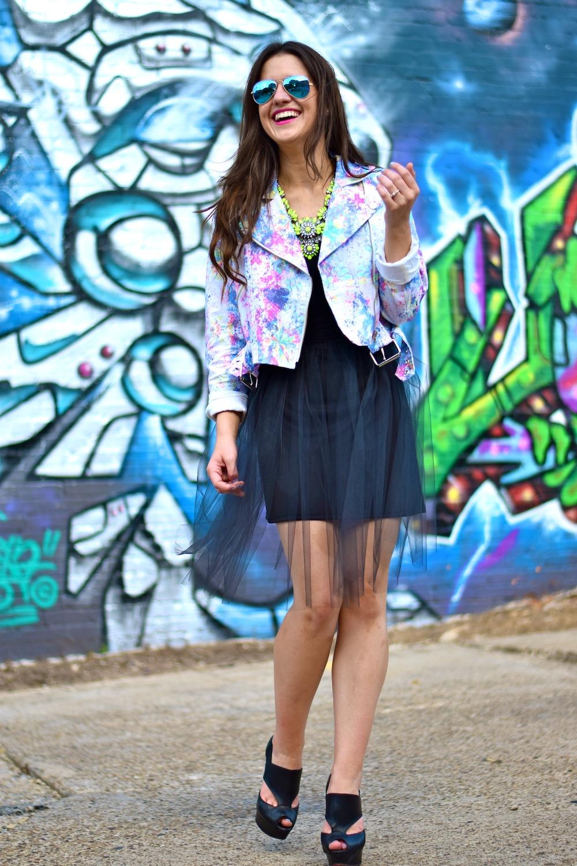moto jacket with dress