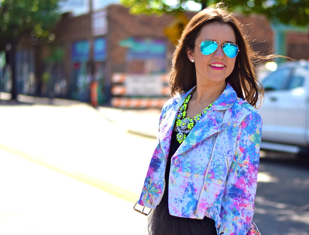 neon print moto jacket
