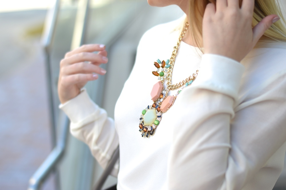 Peach and mint statement necklace