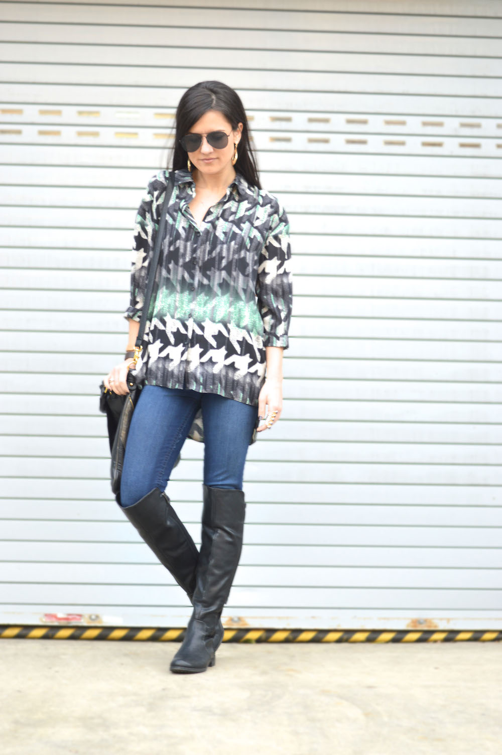 blouse and over the knee boots