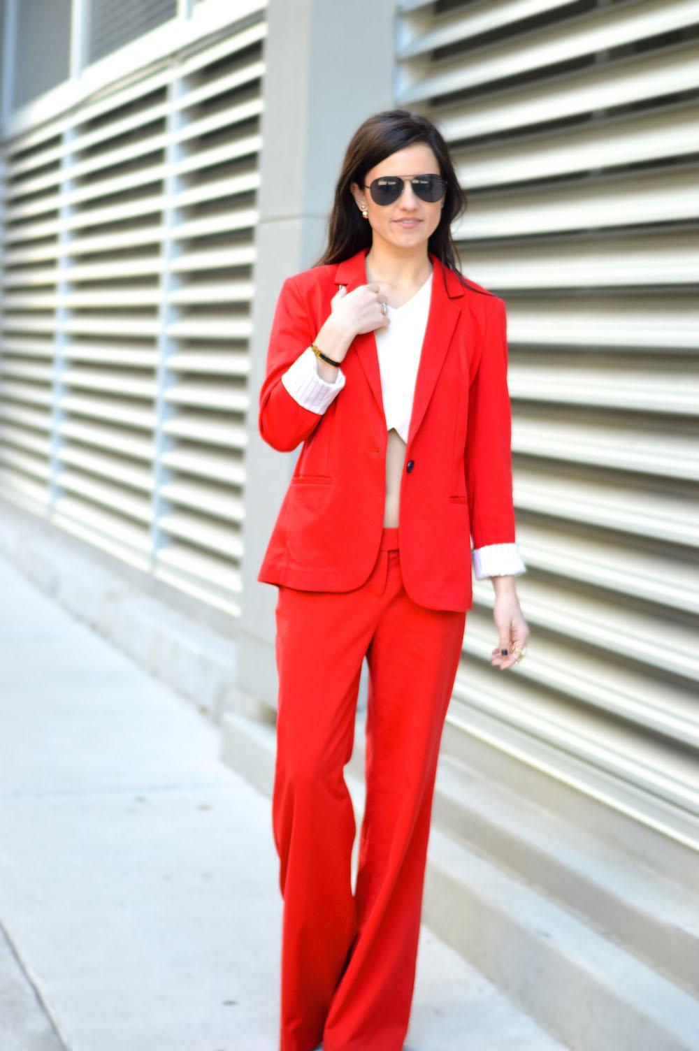 crop top pant suit