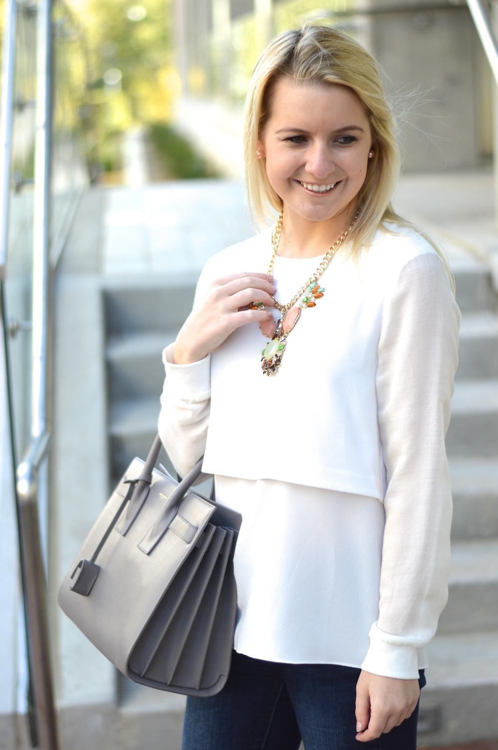 white layered tibi blouse