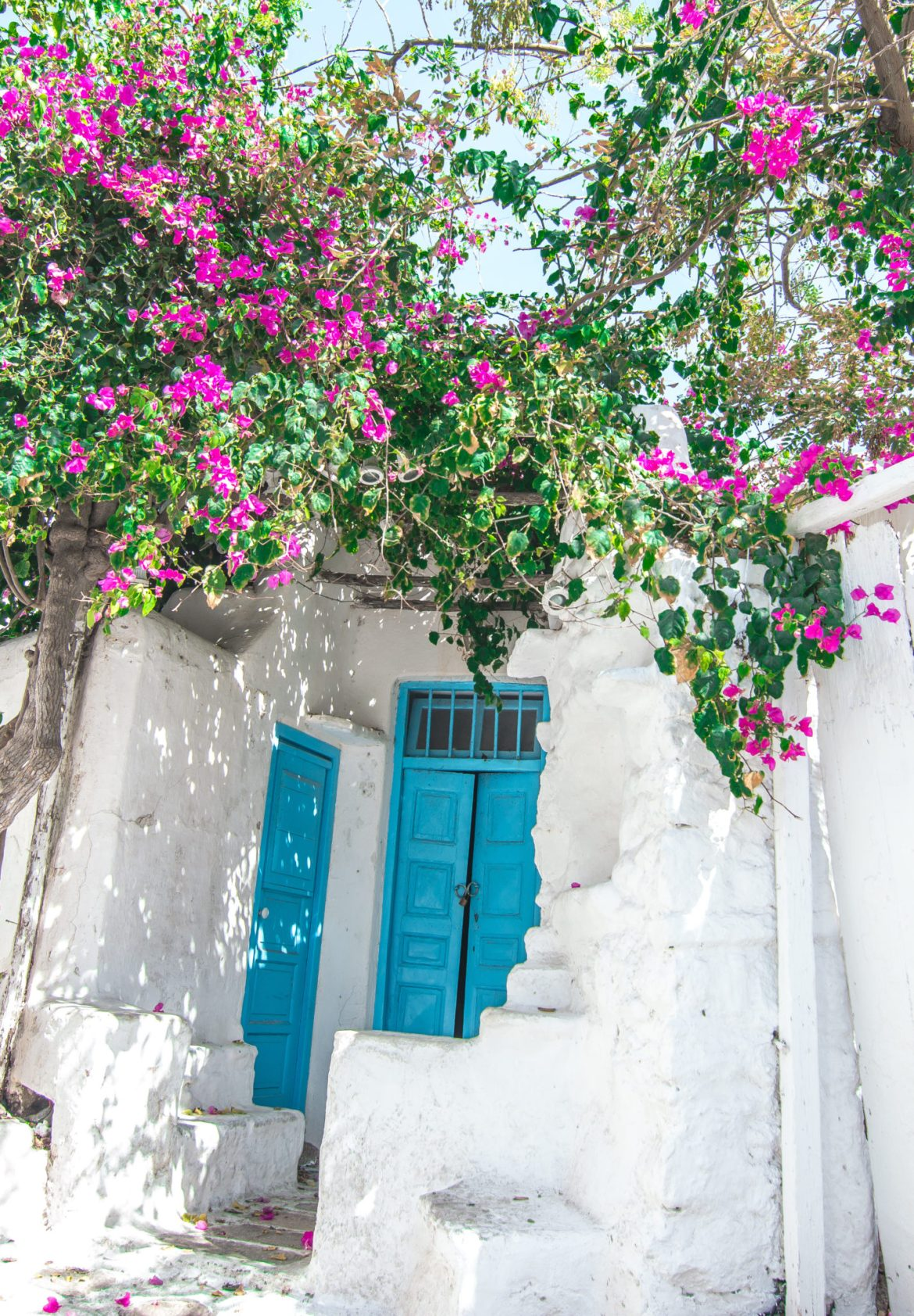 Mykonos Travel Guide blue door pink flowers