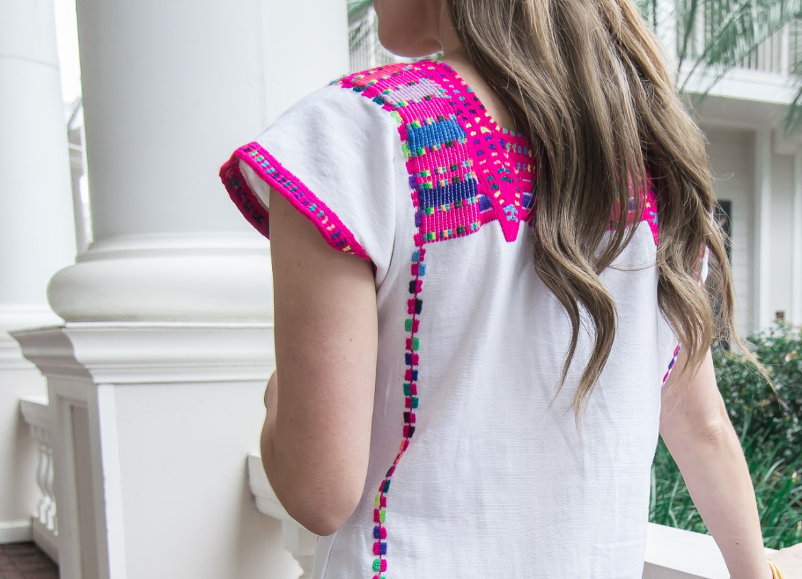 Pink Embroidered Mexican Top