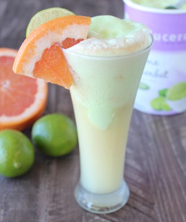 grapefruit lime sherbet float cocktail
