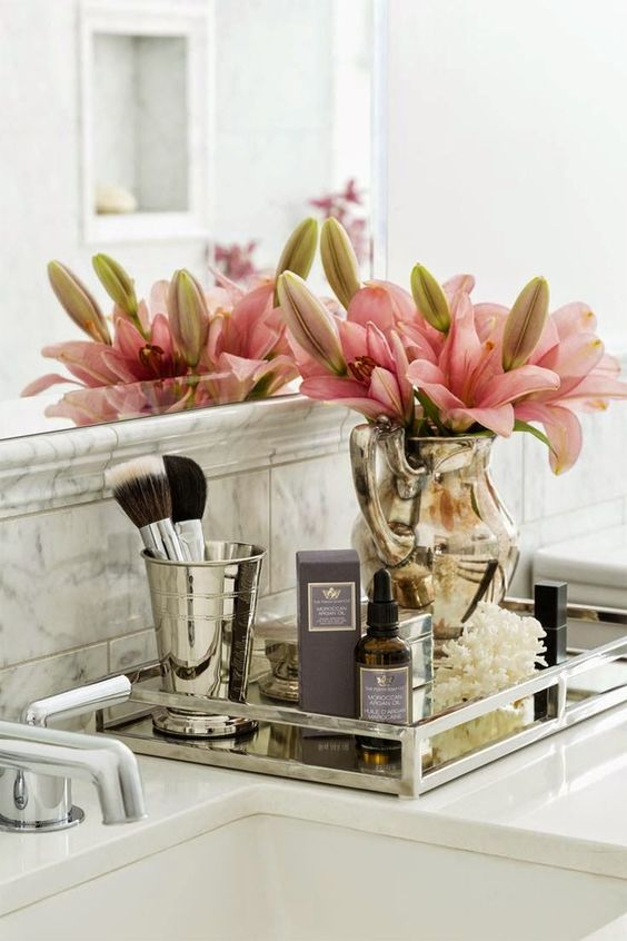 8 Chic And Easy Ways To Revamp Your Bathroom Counter • The ... on Counter Decor  id=45285