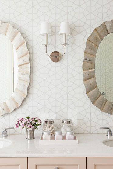 blush bathroom apothecary jars
