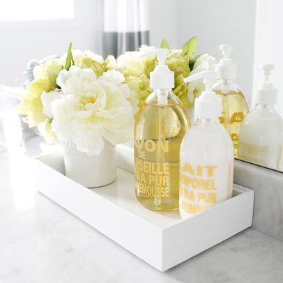 bathroom counter soap flowers