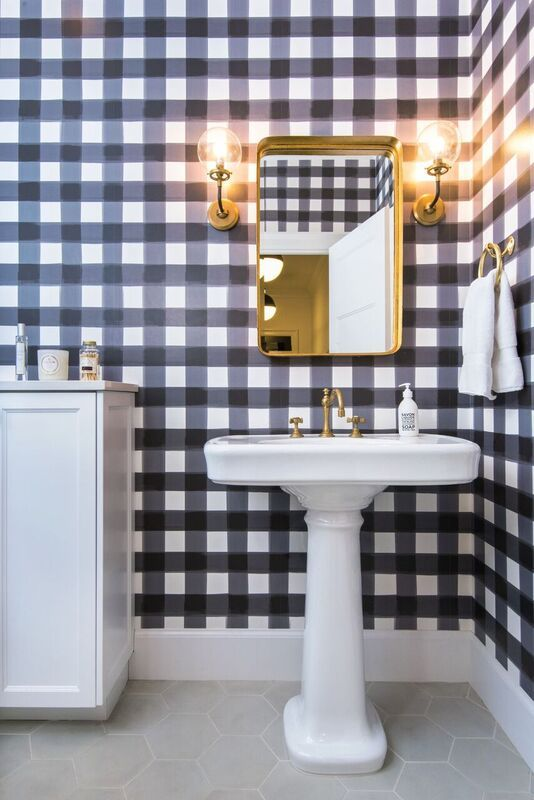 gingham wallpaper guest bathroom