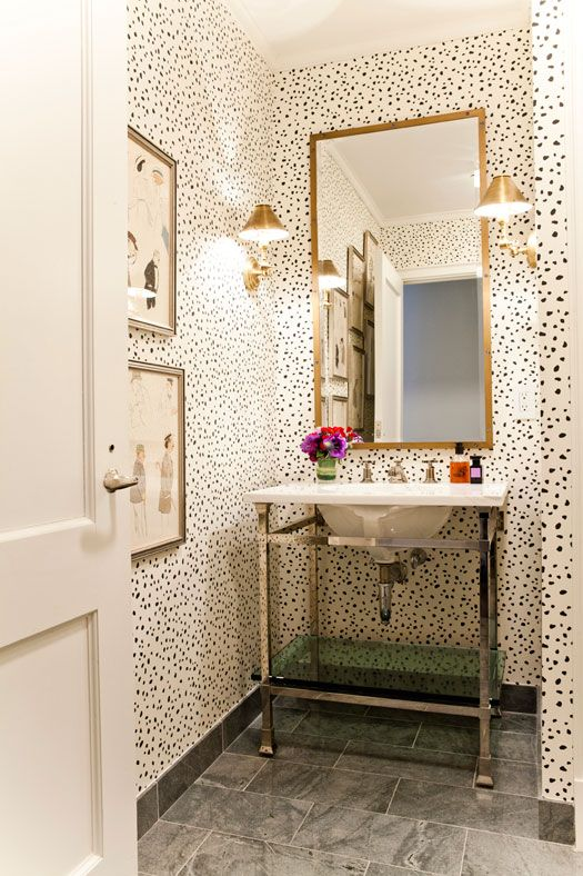 dalmatian wallpaper guest bathroom vanity