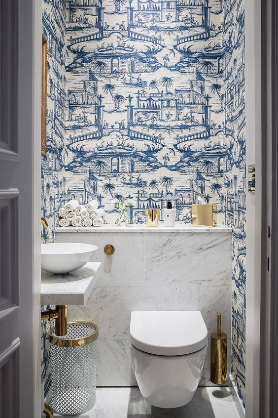 via blue white chinese wallpaper bathroom - Wallpaper For Bathroom