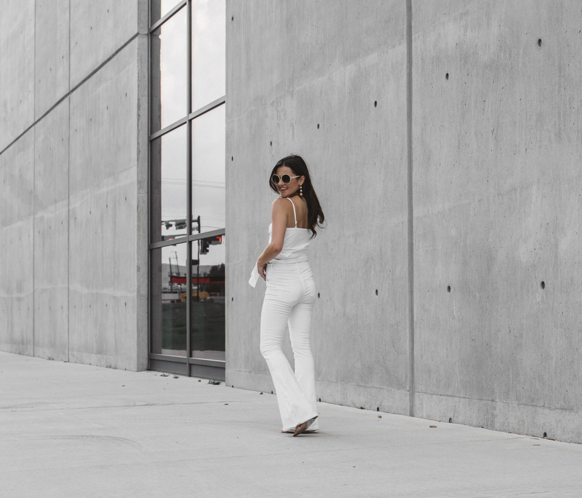 White Crop Top White Flared Jeans (14 of 23)