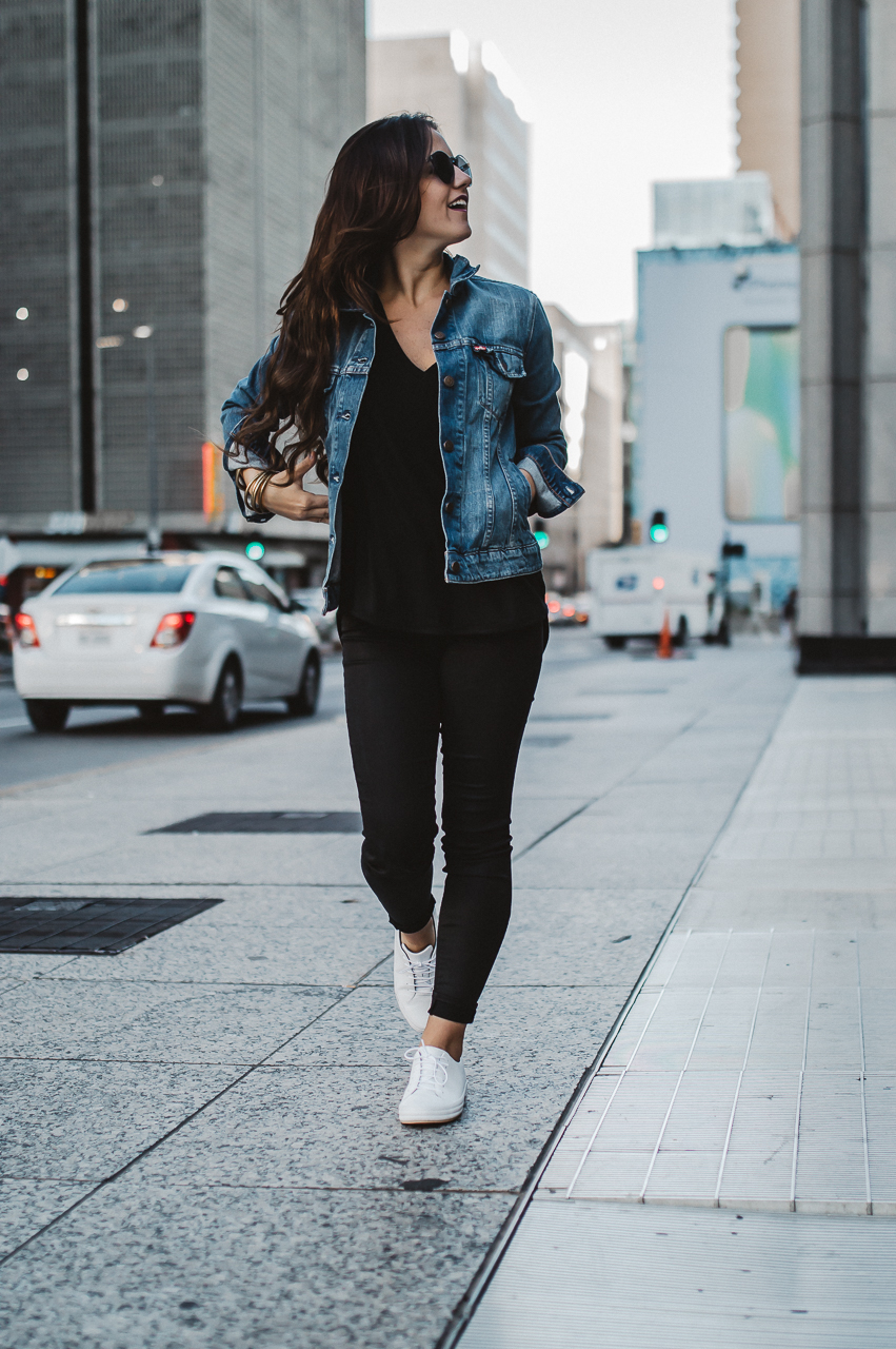 Black and denim fall outfit