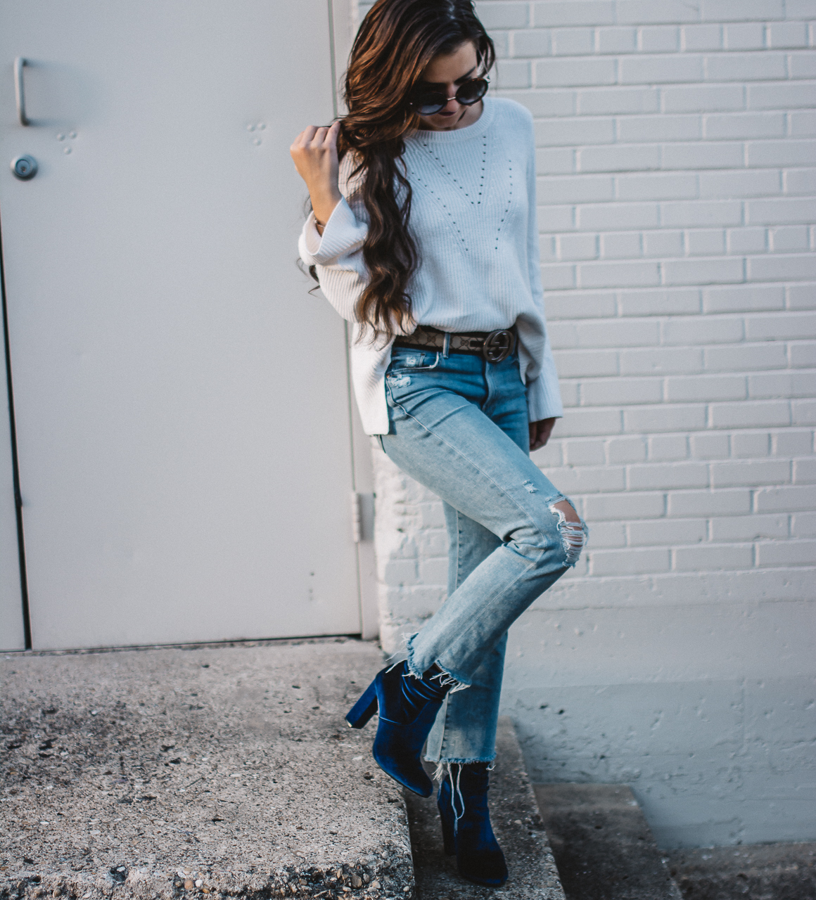 Blue Velvet Booties Outfit