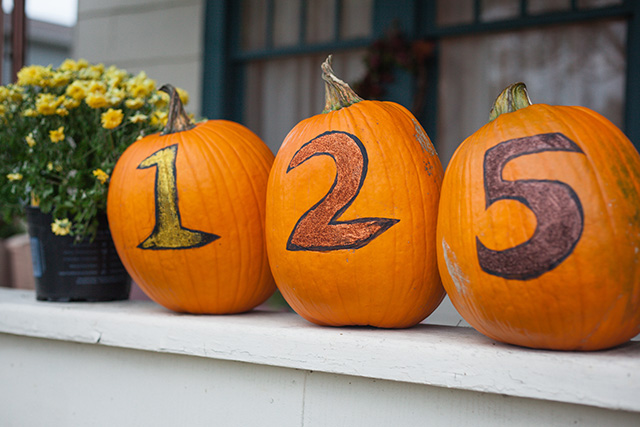 House Number Glitter Pumpkins