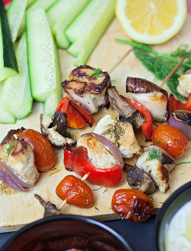 Greek Style Kabobs with Tzatziki Dip
