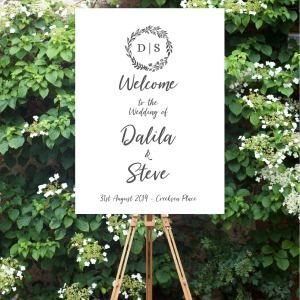 Printed 'Wreath' Welcome Sign