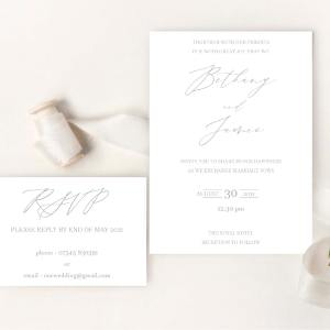 Modern White Card invite set