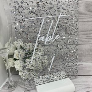 Glitter fleck acrylic table number or name