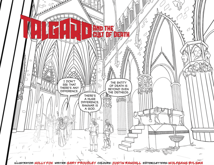 A black and white line work panel from the Talgard Comic