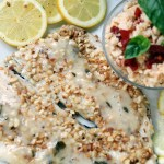 Macadamia Crusted Rainbow Trout with Coconut Lemon Basil Sauce