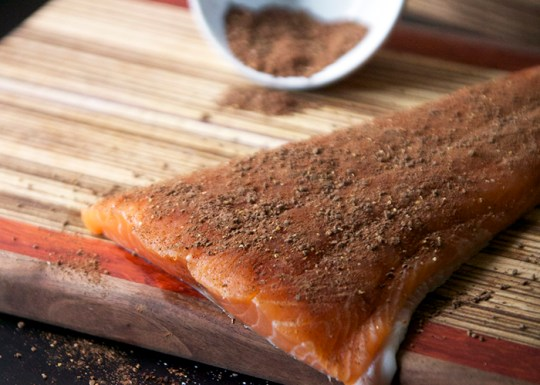 Chocolate Chipotle Salmon Rub | The Pescetarian and the Pig