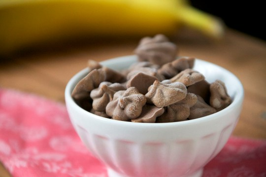 Chocolate Peanut Butter Banana Frozen Yogurt Drops