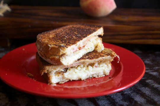 Peach, Port Salut, and Pepper Jack Grilled Cheese Sandwich