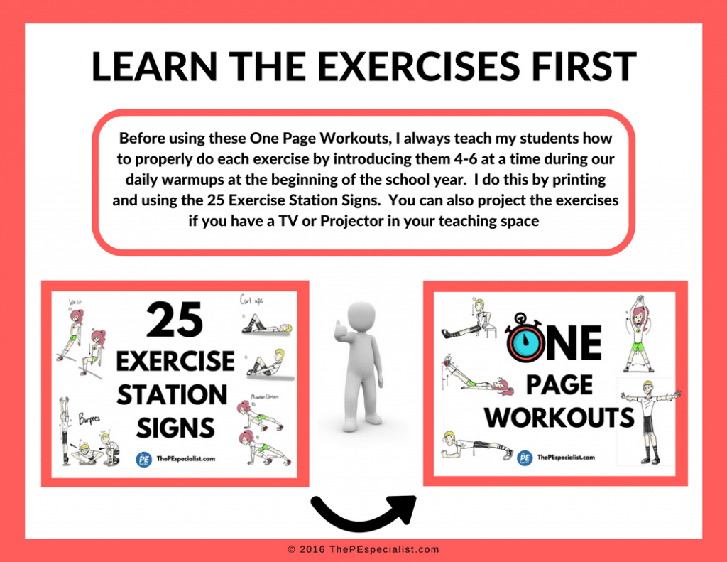 Printable Exercise Posters For Physical Education Class