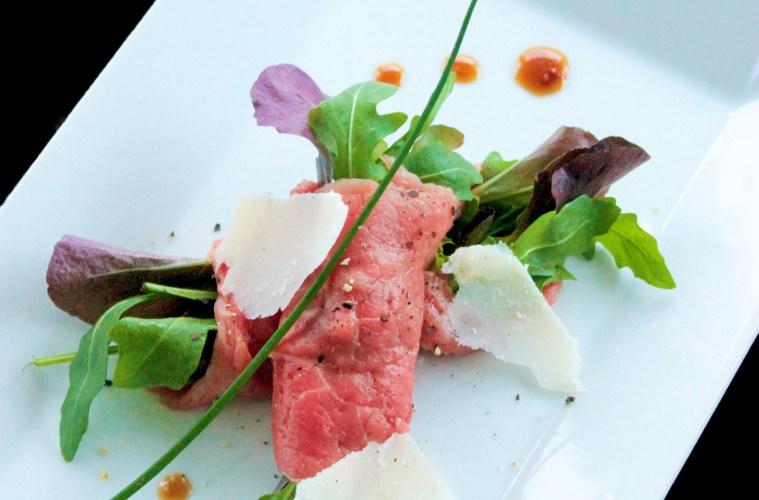 Italian beef Carpaccio with dijon mustard vinaigrette