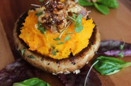 Portobello Mushroom with roasted Pumpkin mash and caramelized Walnuts - Seasonal, simple and super tasty. This vegetarian recipe features sweet roasted pumpkin and juicy portobello, for a meal that any meat-lover will love.