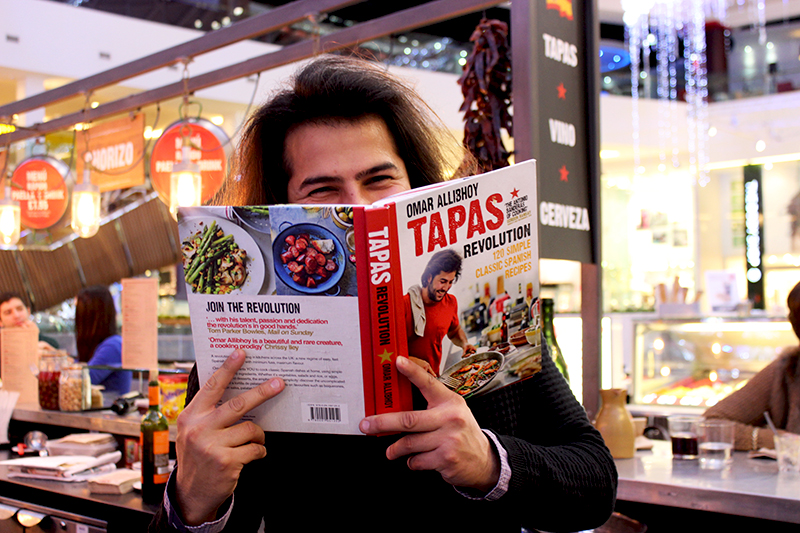 Chef Omar with the cookbook Tapas Revolution