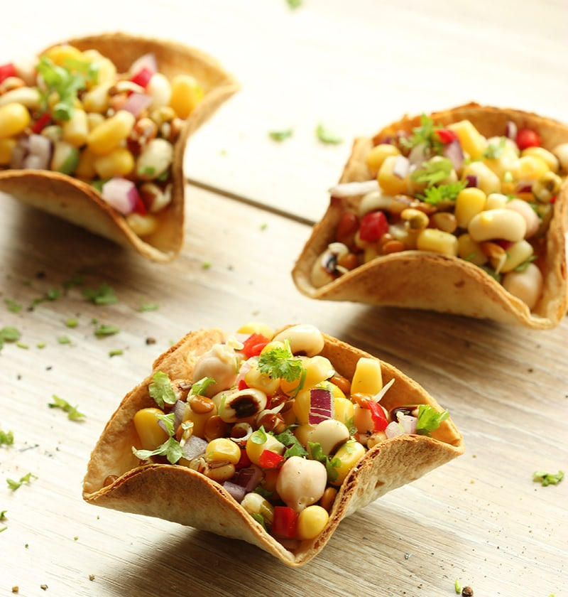 Mexican Taco Bowls With Mixed Bean Salsa The Petite Cook