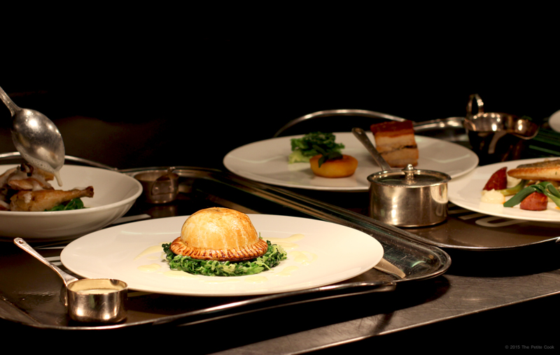 Straight from the pass: Butternut squash, caramelised onion and chestnut pie, buttered Savoy cabbage