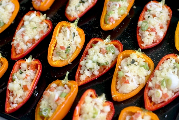 Cous Cous Stuffed Mini Peppers - Wow your guests with this easy vegan finger food. perfect to please everyone at your next party! Dairy-free Vegan Recipe by The Petite Cook