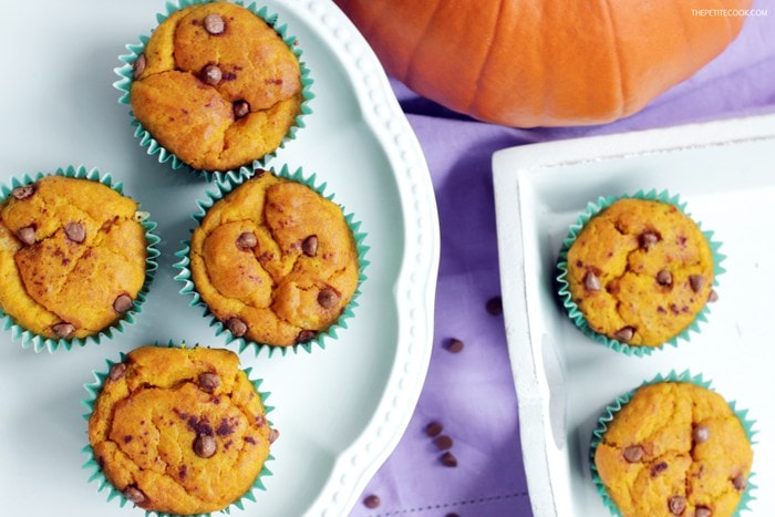 Pumpkin Chocolate Chip Muffins - Recipe from The Petite Cook