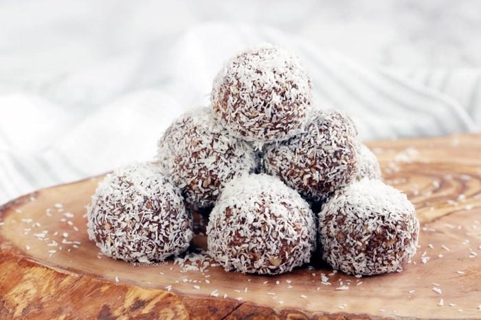 Swedish Chocolate Balls on wood board