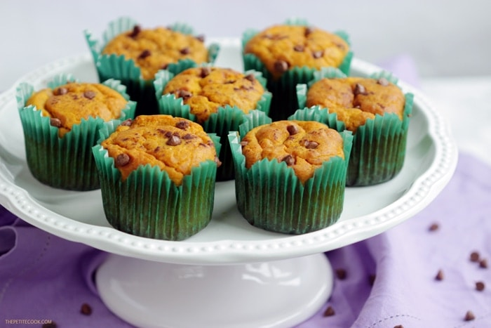 dairy-free pumpkin muffins on a cake stand