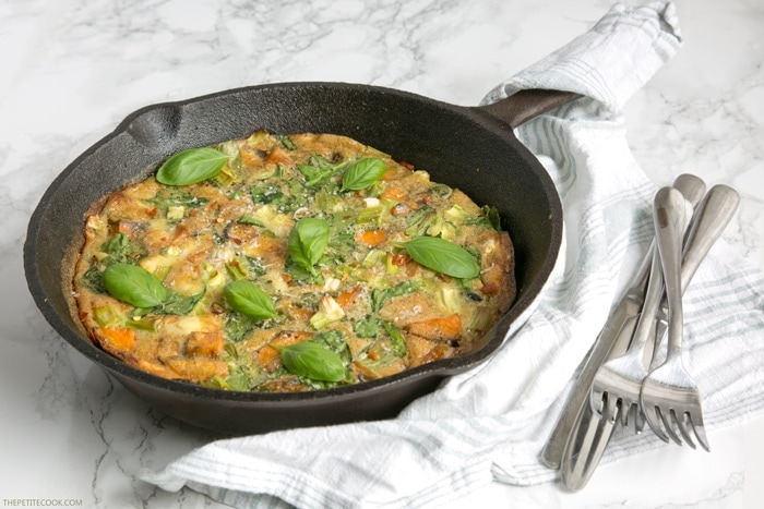 Say hello to Sweet Potato Frittata - the easiest breakfast, lunch, or dinner you'll ever make. It's awesomely healthy, ready in 30 min and gluten-free / dairy-free! Recipe from thepetitecook.com