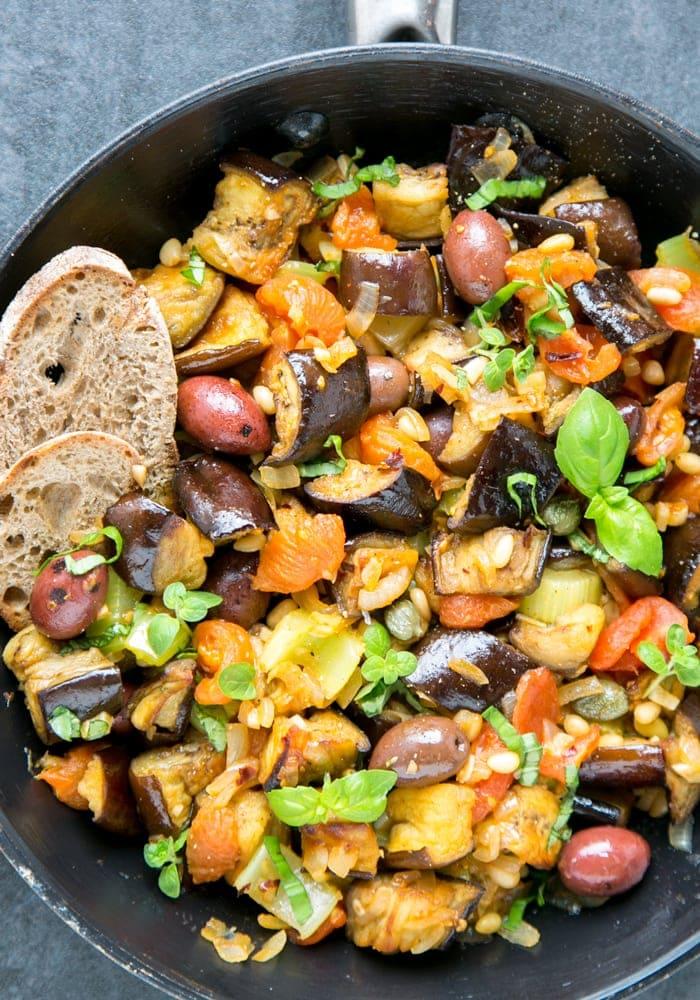 Sicilian Eggplant Caponata with bread