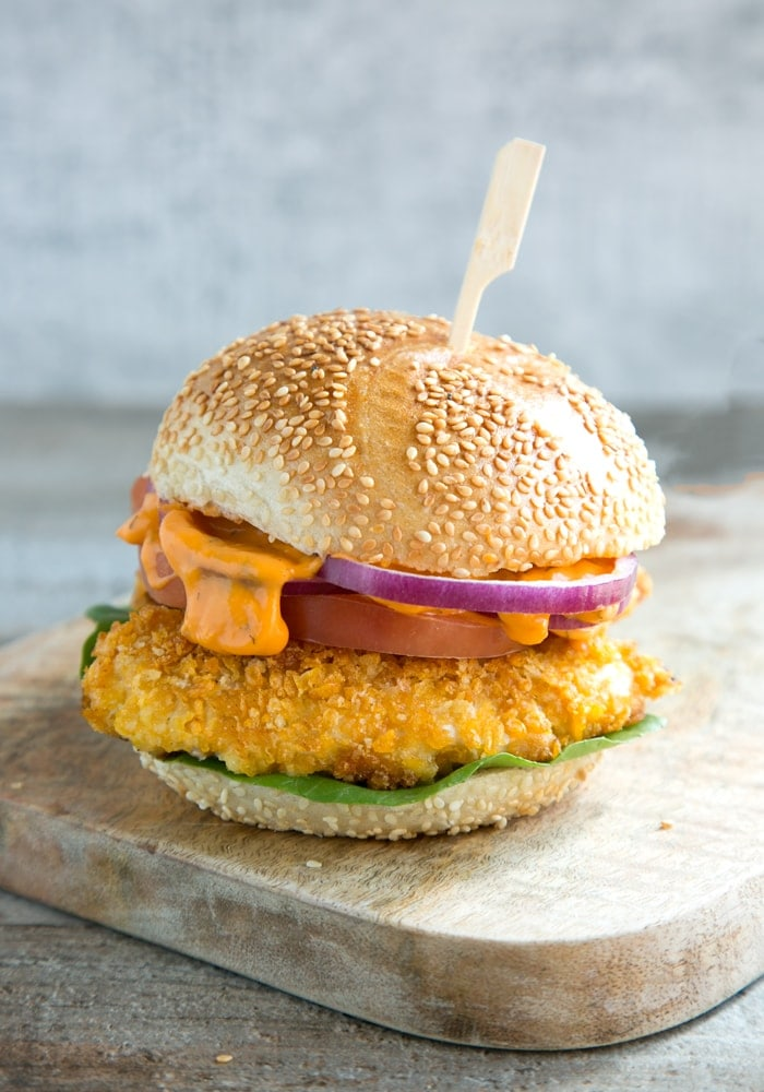 Buttermilk Oven Fried Chicken Burger with spicy mayonnaise