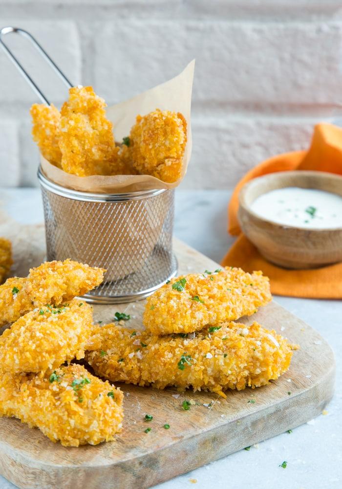 oven fried chicken tenders with yogurt dip