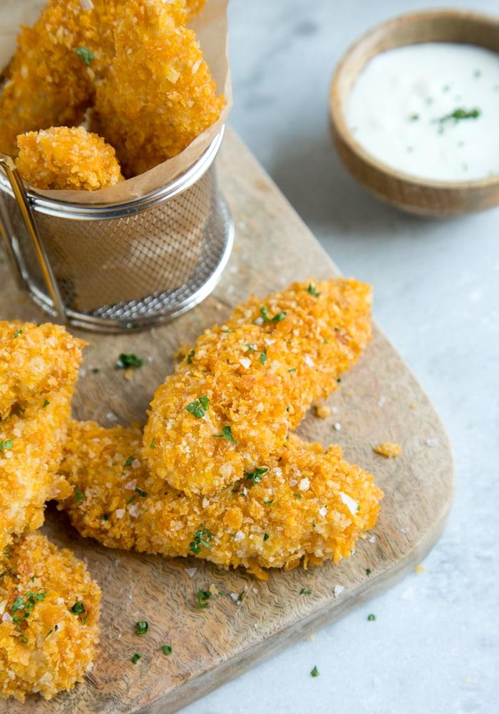 oven fried chicken tenders and yogurt dip